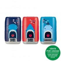 pCombinacion de goma y sacapuntas doble uno estandar y otro MAXI con deposito Diseno COMPACT edicion especial Shark Attack El s