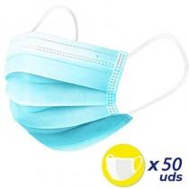 pulliPack de 50 mascarillas higienicas desechables liliGoma elastica para sujecion li ulbr p