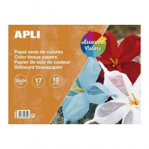 pul liBloc de papel de seda de 17 g m tamano 32 x 24 cm Cada bloc contiene 10 hojas en colores surtidos 1 hoja por color amaril
