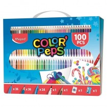 pul liCaja de carton con asa vuelve a guardar todas las piezas li li36 rotuladores Ocean 36 lapices de colores 24 ceras para co